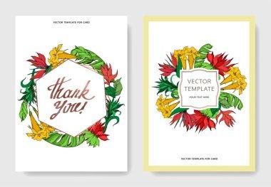 Vector Palm beach tree botanical flowers. Black and white engraved ink art. Wedding background card floral decorative border. Thank you, rsvp, invitation elegant card illustration graphic set banner. clip art vector