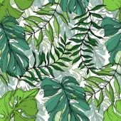 Vector Palm strand fa elhagyja dzsungel botanikus. Fekete-fehér vésett tinta Art. Folytonos háttérmintázat.