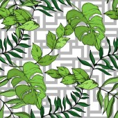 Vektorpalme Strandbaum Blätter Dschungel botanischen. Schwarz-weiß gestochene Tuschekunst. nahtloses Hintergrundmuster.