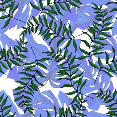 Vector Exotic tropical hawaiian summer. Palm beach tree leaves jungle botanical. Black and white engraved ink art. Seamless background pattern. Fabric wallpaper print texture. stock vector