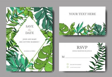 Vector Palm beach tree leaves jungle botanical. Black and white engraved ink art. Wedding background card decorative border. Thank you, rsvp, invitation elegant card illustration graphic set banner. clip art vector