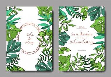 Vector Palm beach tree leaves jungle botanical. Black and white engraved ink art. Wedding background card decorative border. Thank you, rsvp, invitation elegant card illustration graphic set banner. clip art vector
