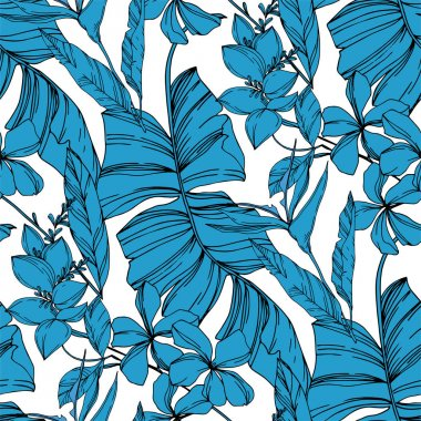 Vector Exotic tropical hawaiian summer. Palm beach tree leaves jungle botanical plant. Black and white engraved ink art. Seamless background pattern. Fabric wallpaper print texture. clip art vector