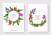 Vector Palm Beach fa elhagyja. Fekete-fehér vésett tinta Art. Esküvői háttérkártya virág dekoratív határon.