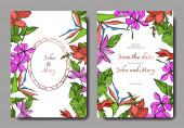 Vektorpalmenstrandblätter. Schwarz-weiß gestochene Tuschekunst. Hochzeit Hintergrund Karte Blumen dekorative Grenze.