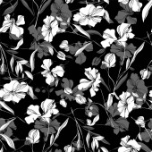 Vector Flax floral botanical flowers. Black and white engraved ink art. Seamless background pattern.