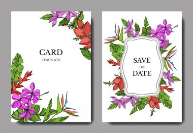 Vector Palm beach tree leaves. Black and white engraved ink art. Wedding background card floral decorative border. Thank you, rsvp, invitation elegant card illustration graphic set banner. clip art vector