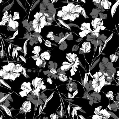 Vector Flax floral botanical flowers. Wild spring leaf wildflower isolated. Black and white engraved ink art. Seamless background pattern. Fabric wallpaper print texture. clip art vector