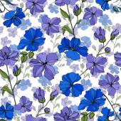 Vektor len virágos botanikai virágok. Fekete-fehér vésett tinta Art. Folytonos háttérmintázat.