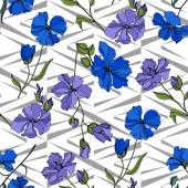 Vektorové botanické květiny lnu. Černé a bílé ryté inkoustem. Bezespání vzorek pozadí.