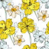 Fotografie Vector Narcissus floral botanical flowers. Black and white engraved ink art. Seamless background pattern.