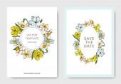 Vector Narcissus floral botanical flowers. Black and white engraved ink art. Wedding background card decorative border.
