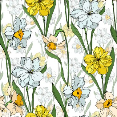 Vector Narcissus floral botanical flowers. Wild spring leaf wildflower isolated. Black and white engraved ink art. Seamless background pattern. Fabric wallpaper print texture. stock vector