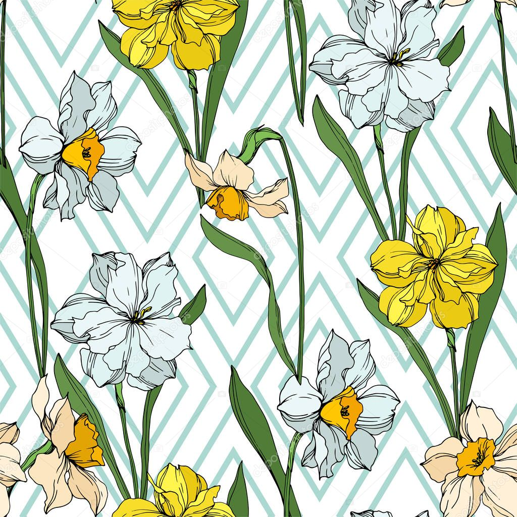 Vector Narcissus floral botanical flowers. Wild spring leaf wildflower isolated. Black and white engraved ink art. Seamless background pattern. Fabric wallpaper print texture. clipart vector