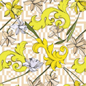 Photo Vector Narcissus floral botanical flowers. Black and white engraved ink art. Seamless background pattern.