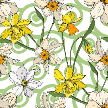 Vector Narcissus floral botanical flowers. Wild spring leaf wildflower isolated. Black and white engraved ink art. Seamless background pattern. Fabric wallpaper print texture. clip art vector