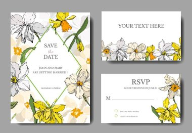 Vector Narcissus floral botanical flowers. Black and white engraved ink art. Wedding background card decorative border. Thank you, rsvp, invitation elegant card illustration graphic set banner. stock vector