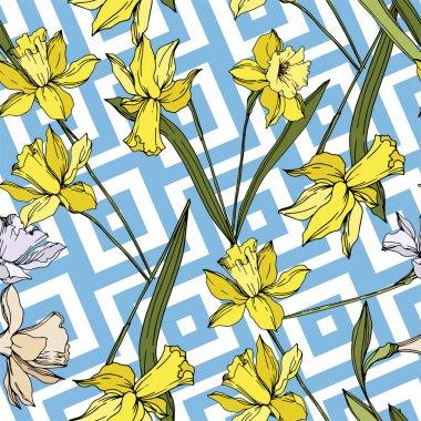 Vektör Narcissus çiçek botanik çiçekler. Siyah ve beyaz oyulmuş mürekkep sanatı. Kesintisiz arka plan deseni.