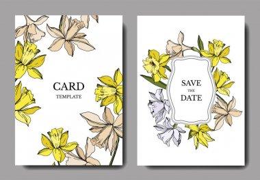 Vector Narcissus floral botanical flowers. Black and white engraved ink art. Wedding background card floral decorative border. Thank you, rsvp, invitation elegant card illustration graphic set banner. clip art vector