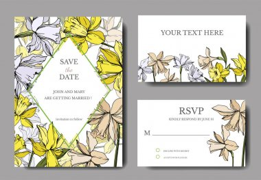 Vector Narcissus floral botanical flowers. Black and white engraved ink art. Wedding background card floral decorative border. Thank you, rsvp, invitation elegant card illustration graphic set banner. clip art vector