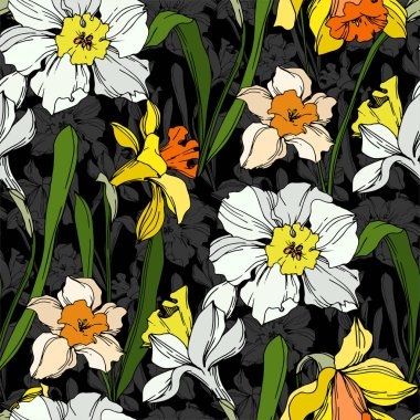 Vector Narcissus floral botanical flower. Wild spring leaf wildflower isolated. Black and white engraved ink art. Seamless background pattern. Fabric wallpaper print texture. clip art vector