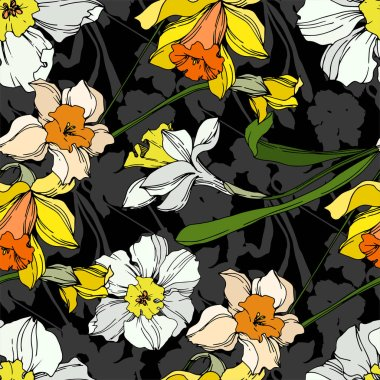Vector Narcissus floral botanical flower. Wild spring leaf wildflower isolated. Black and white engraved ink art. Seamless background pattern. Fabric wallpaper print texture. stock vector