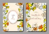 Vector Narcissus floral botanical flower. Black and white engraved ink art. Wedding background card decorative border.