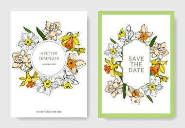 Vector Narcissus floral botanical flower. Black and white engraved ink art. Wedding background card decorative border. Thank you, rsvp, invitation elegant card illustration graphic set banner. stock vector
