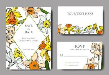 Vector Narcissus floral botanical flower. Black and white engraved ink art. Wedding background card decorative border. Thank you, rsvp, invitation elegant card illustration graphic set banner. stock vector