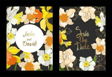 Vector Narcissus floral botanical flower. Black and white engraved ink art. Wedding background card decorative border. Thank you, rsvp, invitation elegant card illustration graphic set banner. clip art vector
