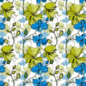 Vektorororchidee florale botanische Blumen. Schwarz-weiß gestochene Tuschekunst. nahtloses Hintergrundmuster.