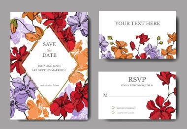 Orchid floral botanical flowers. Black and white engraved ink art. Wedding background card floral decorative border. Thank you, rsvp, invitation elegant card illustration graphic set banner. stock vector