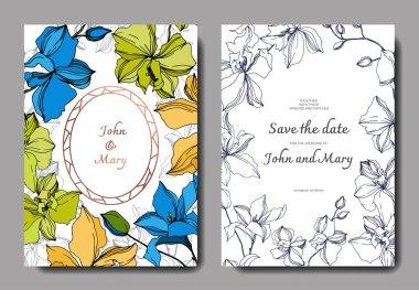 Vector Orchid floral botanical flowers. Black and white engraved ink art. Wedding background card floral decorative border. Thank you, rsvp, invitation elegant card illustration graphic set banner. clip art vector