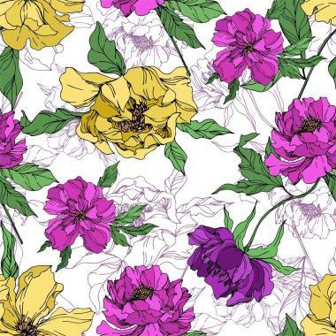 Şakayık çiçekbotanik çiçekleri. Siyah ve beyaz oyulmuş mürekkep sanatı. Kesintisiz arka plan deseni.