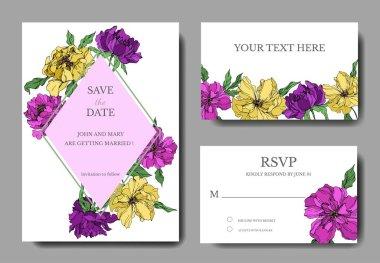 Peony floral botanical flowers. Black and white engraved ink art. Wedding background card decorative border. Thank you, rsvp, invitation elegant card illustration graphic set banner. stock vector