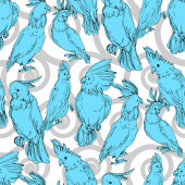 Photo Vector Sky bird cockatoo in a wildlife. Black and white engraved ink art. Seamless background pattern.