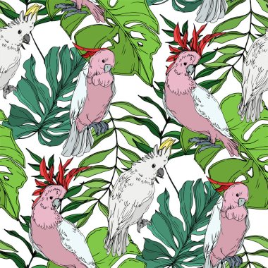 Vector Sky bird cockatoo in a wildlife. Wild freedom, bird with a flying wings. Black and white engraved ink art. Seamless background pattern. Fabric wallpaper print texture. clip art vector