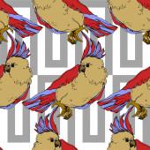 Vector Sky pták kakadu v divočině izolované. Černobílý rytý inkoust. Bezproblémové pozadí vzor.