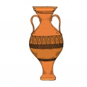 Photo Vector Antique greek amphoras. Black and white engraved ink art. Isolated ancient illustration element.