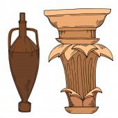 Vektorové antické řecké amfory a kolony. Černobílý rytý inkoust. Izolovaný prastarý ilustrační prvek.