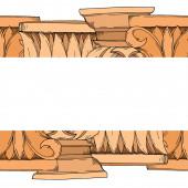Vektorové antické řecké sloupy. Černobílý rytý inkoust. Ozdobný rámeček rámečku.