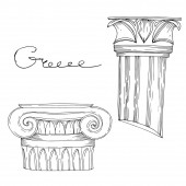 Photo Vector Antique greek columns. Black and white engraved ink art. Isolated ancient illustration element.