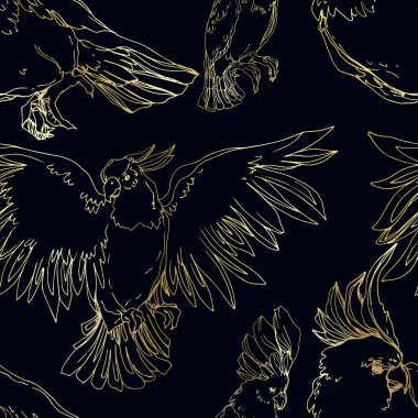 Vector Sky bird cockatoo in a wildlife isolated. Wild freedom, bird with a flying wings. Black and white engraved ink art. Seamless background pattern. Fabric wallpaper print texture. clip art vector