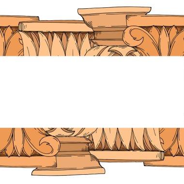 Vector Antique greek columns. Black and white engraved ink art. Frame border ornament square on white background. stock vector