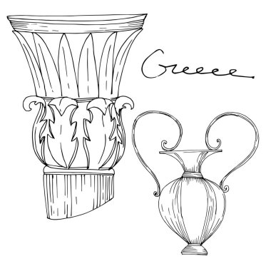 Vector Antique greek amphoras and columns. Black and white engraved ink art. Isolated ancient illustration element on white background. clip art vector