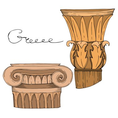Vector Antique greek columns. Black and white engraved ink art. Isolated ancient illustration element on white background. clip art vector