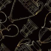 Vektorové antické řecké amfory a kolony. Černobílý rytý inkoust. Bezproblémové pozadí vzor.