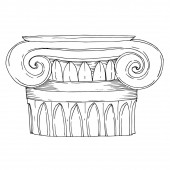 Fotografie Vector Antique greek columns. Black and white engraved ink art. Isolated ancient illustration element.
