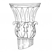 Vector Antique greek columns. Black and white engraved ink art. Isolated ancient illustration element.