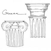 Fényképek Antik görög vektor oszlopok. Fekete-fehér vésett tinta művészet. Elszigetelt ősi illusztrációs elem.